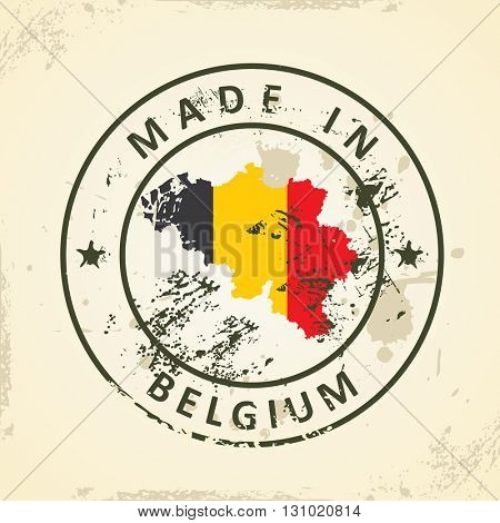Grunge stamp with map flag of Belgium - vector illustration