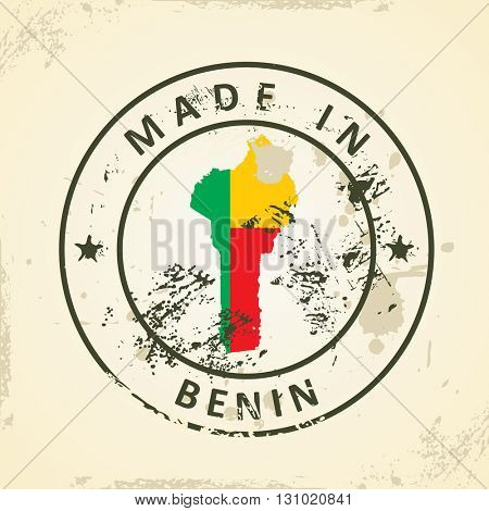 Grunge stamp with map flag of Benin - vector illustration