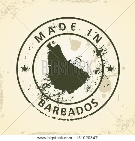 Grunge stamp with map of Barbados - vector illustration