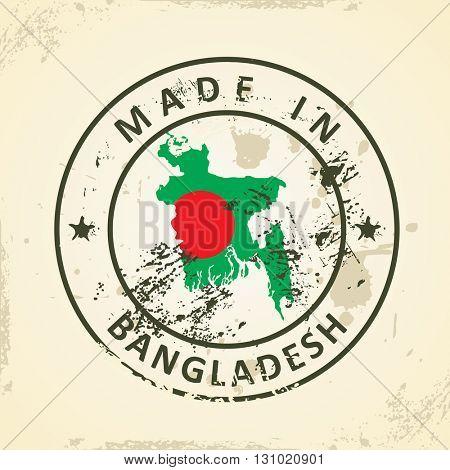 Grunge stamp with map flag of Bangladesh - vector illustration