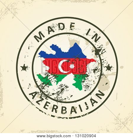 Grunge stamp with map flag of Azerbaijan - vector illustration