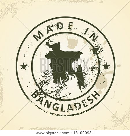 Grunge stamp with map of Bangladesh - vector illustration