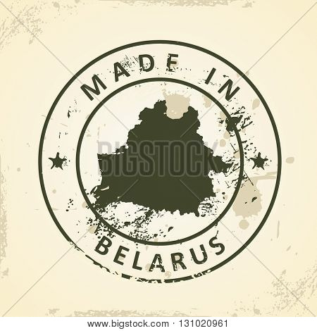 Grunge stamp with map of Belarus - vector illustration
