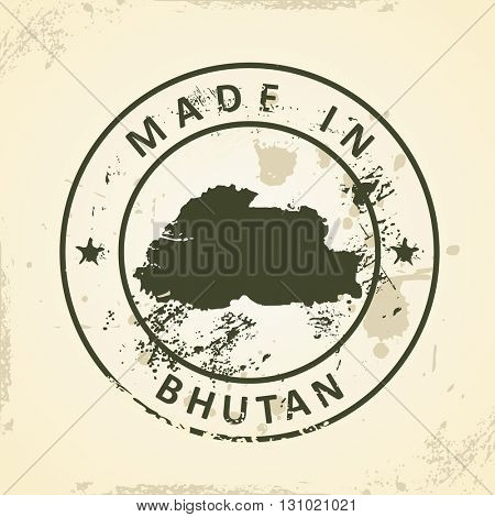 Grunge stamp with map of Bhutan - vector illustration