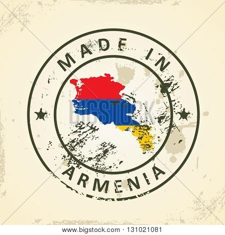Grunge stamp with map flag of Armenia - vector illustration