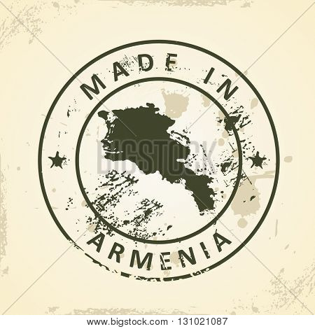 Grunge stamp with map of Armenia - vector illustration
