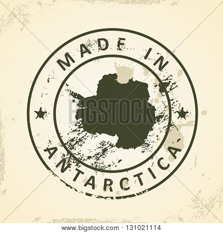 Grunge stamp with map of Antarctica - vector illustration