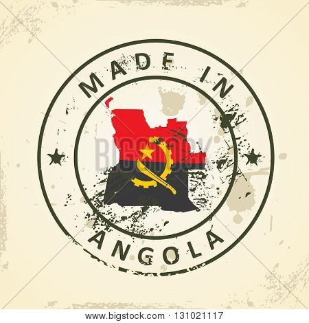 Grunge stamp with map flag of Angola - vector illustration