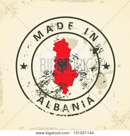 Grunge stamp with map flag of Albania - vector illustration