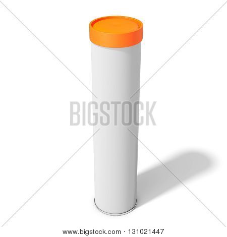 3D Blank Container, Can, Spray With Orange Cap