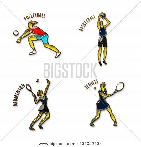 Athlete Icon. Volleybal. Basketball. Badminton. Tennis. Summer games. Sport icons with sportsmen for competitions or championship design. Gold and colored glass. 3D illustration.