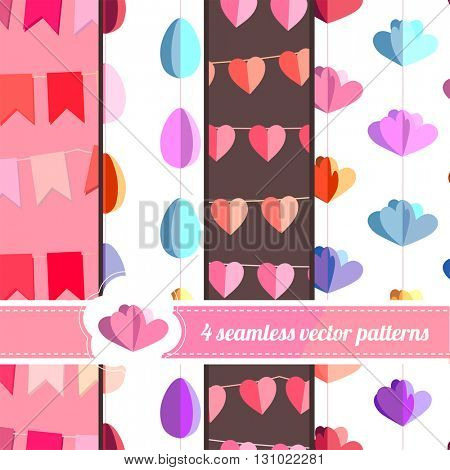 Collection of seamless bright patterns with objects cut from paper. Endless texture for festive  design, announcements, greeting cards, posters, advertisement.