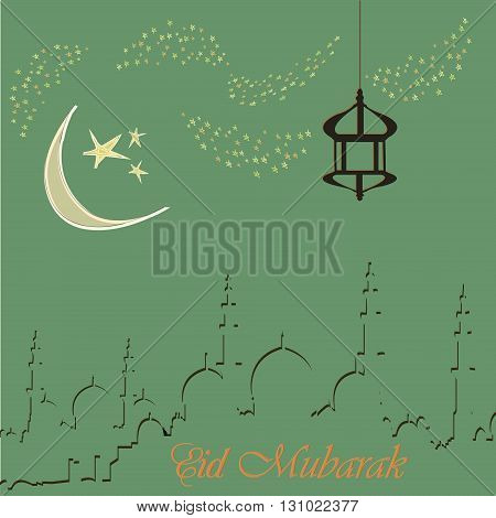 Creative greeting card design for holy month of muslim community festival Eid Mubarak with moon and hanging lantern and stars on background.