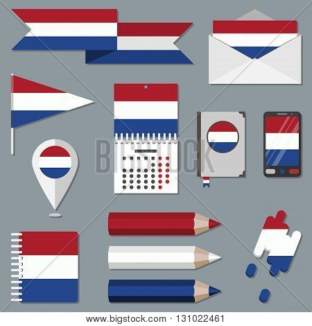 Collection of stationety icons with flag elements. National sign set. Kingdom of the Netherlands