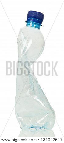 Blank crumpled plastic bottle isolated on white background.