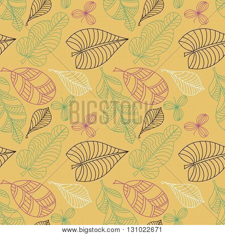 Seamless pattern with leaf doodle style. Background  textile cover wrapper.