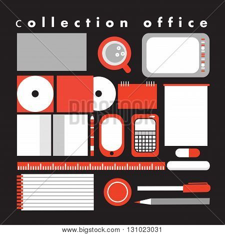 Vector image of a collection of objects for office on a dark background