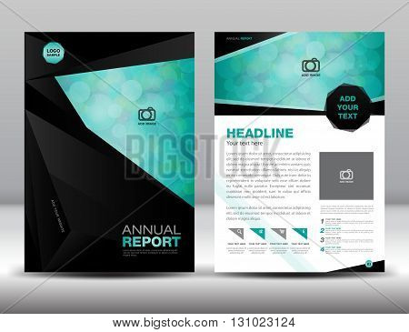 Black Annual report template cover design brochure flyer Layout template design