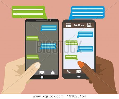 Two Hands holding black smartphone with blank speech bubbles for text. Text messaging flat design concept. Eps 10 vector illustration