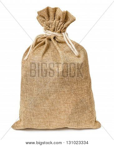 Jute Bag Full Of Money Isolated On White Background.