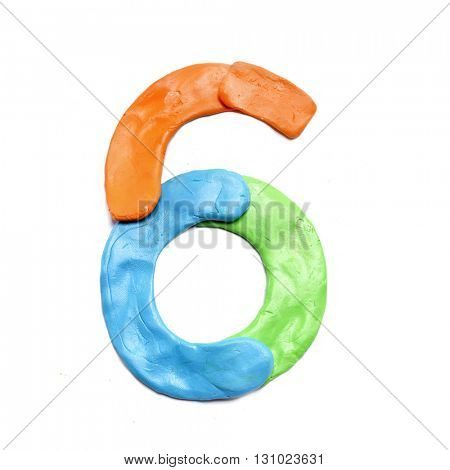 Color plasticine numbers, isolated.