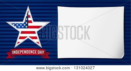 Happy Independence day USA vector background template with star in national flag colors and the sheet of paper. Independence day USA banner star