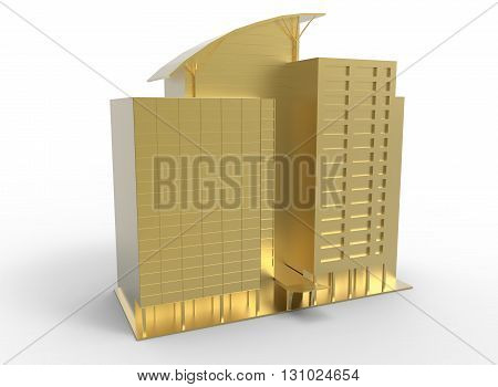 3d illustration of simple skyscraper. low poly triangles and polygons style. usa style.world trade center. icon for game web. gold green color. white background isolated with shadow. simple to use