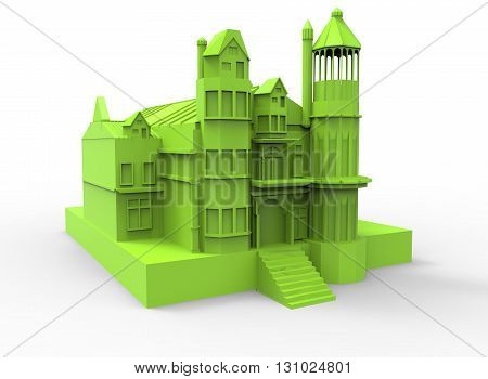 3d illustration of simple mansion. low poly triangles and polygons style.usa style. icon for game web. green gold color. white background isolated with shadow. simple to use. ancient house