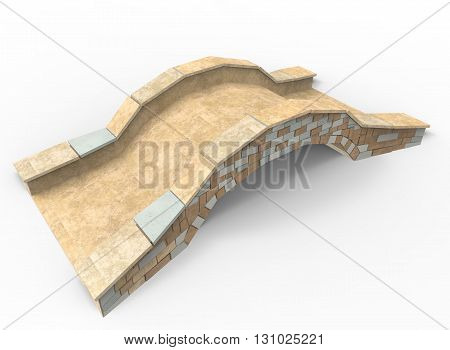 3d illustration of bridge. simple to use. on white background isolated with shadow. icon for game or web. rock texture, bricks and rocks. canvas for text.