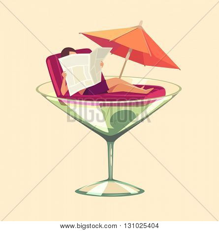 Martini glass vacation. Concept vector illustration.