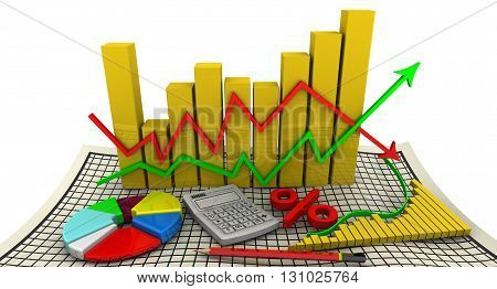 Golden charts with arrows of change data indicators electronic calculator a red pencil symbol of percent round diagram on the sheet in a cage. Business still-life. Isolated. 3D Illustration