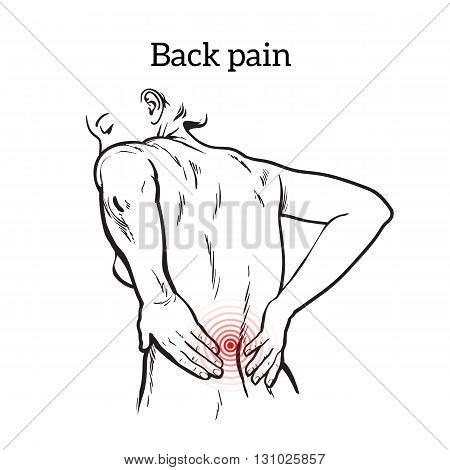 Lumbar pain in a woman back pain in a human outline sketch, black and white illustration with the concept of the disease back, violation of waist, lumbar vertebrae and intervertebral discs