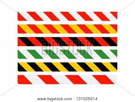 Road signs. Types of multi-colored road warning bands. Vector Illustration. EPS10