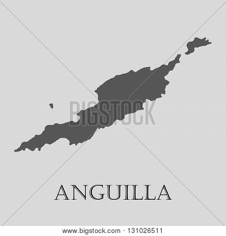 Black Anguilla map on light grey background. Black Anguilla map - vector illustration.