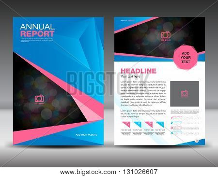 Blue and pink Annual report template cover design  brochure flyer  Layout template design
