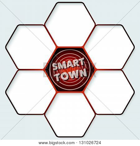 Set of five hexagons for your text and a smart town icon