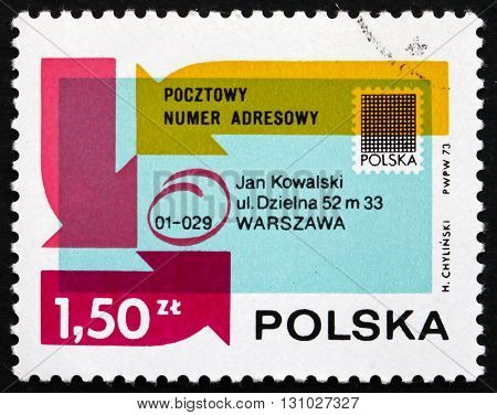 POLAND - CIRCA 1954: a stamp printed in the Poland shows Envelope Showing Postal Code Introduction of Postal Code System in Poland circa 1954