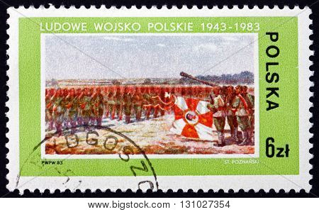 POLAND - CIRCA 1983: a stamp printed in Poland shows Troop Formation Polish Peoples' Army 40th Anniversary circa 1983