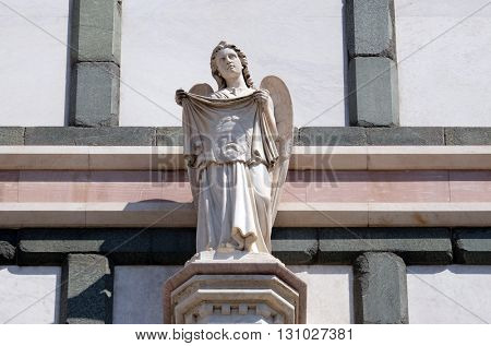FLORENCE, ITALY - JUNE 05: Angel with Veil of Veronica, Basilica di Santa Croce (Basilica of the Holy Cross) - famous Franciscan church in Florence, Italy, on June 05, 2015