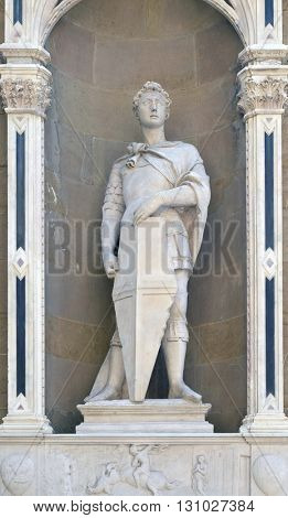 FLORENCE, ITALY - JUNE 05: Saint George by Donatello, Orsanmichele Church in Florence, Tuscany, Italy, on June 05, 2015