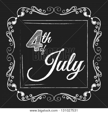 4th of July. USA Independence day. Lettering on chalkboard. Typography concept.