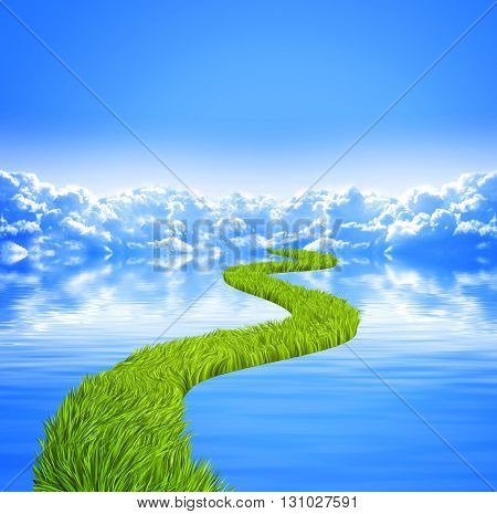 Nature background with white clouds in blue sky, tranquil water surface and road with green grass. 3d render