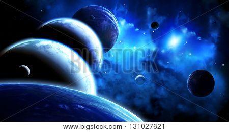 A beautiful space scene with parade of planets and nebula. Elements of this image furnished by NASA. 3d render