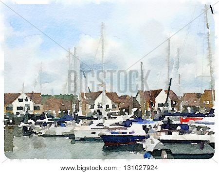 A digital watercolor of sailing boats in a marina.