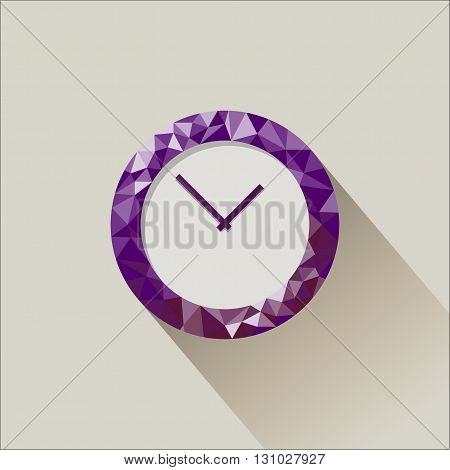 Low poly flat clock illustration with falling shadow.