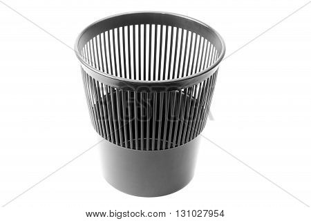 Black trash can isolated on a white