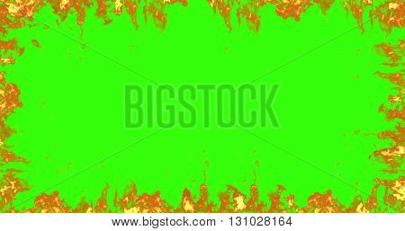 frame of real fire flames burn movement on chroma key green screen background
