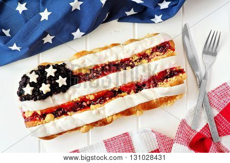 Fourth Of July Berry Pastry With Holiday Decor On A White Wood Background