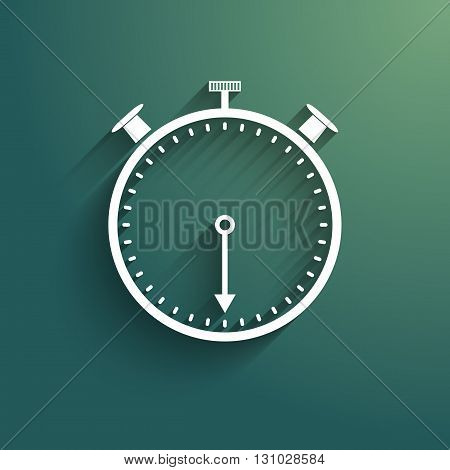 Stopwatch icon with trendy shadow and background. Isolated vector