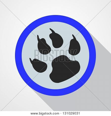 Blue button with print of paw. Black animal tracks - vector illustration.